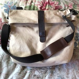 BANANA REPUBLIC Canvas & Leather Bag Brief-Tote EU